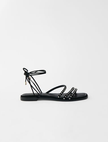 Flat tie sandals with rhinestones : Boots & Flat shoes color Black