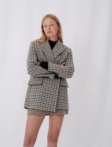 Checked blazer-style coat : Coats & Jackets color Blue/White
