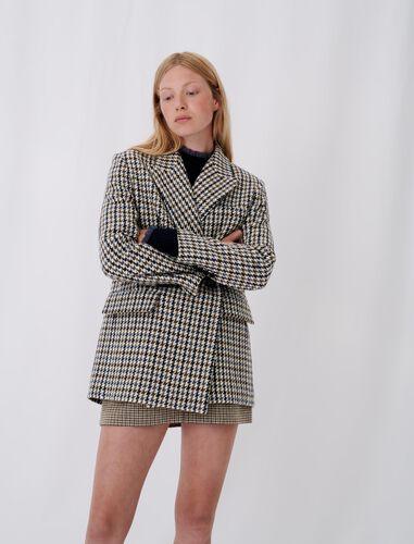 Checked blazer-style coat : Coats & Jackets color Blue/White