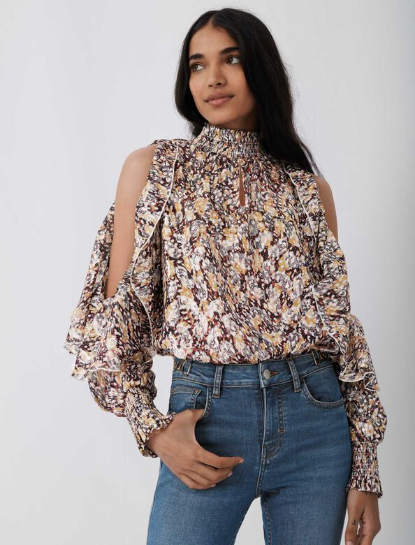 Top with openwork shoulders and ruffles : Tops color Animal lurex Black Camel