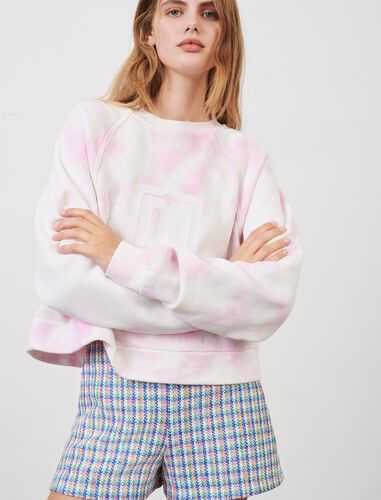 Tie-dye print sweatshirt : Tops color Pink