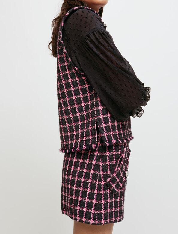 Checked sleeveless top : Tops color Fuchsia
