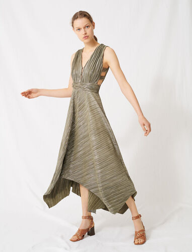 Dress covered with metallic threads : Dresses color Khaki