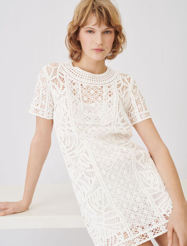 Macramé-style straight-cut dress : Dresses color White