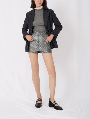 Jacquard trompe-l'œil shorts : Shorts color Silver