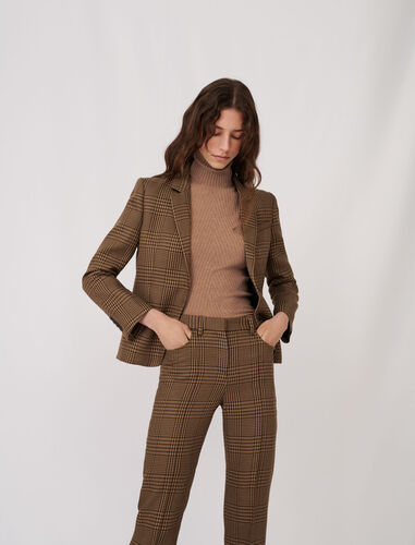 Checked fitted suit jacket : Coats & Jackets color Brown
