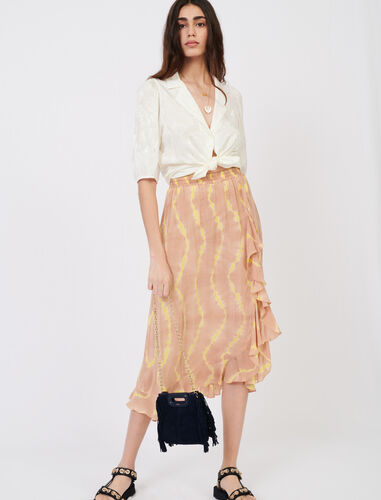Tie dye print skirt with ruffles : null color Nude
