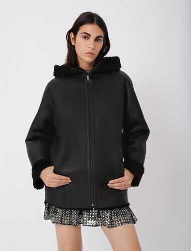 Reversible hooded coat in shearling : Coats & Jackets color Black