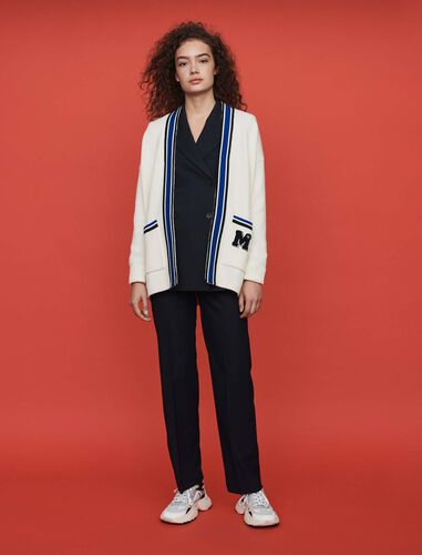 Contrast striped embroidered cardigan : Cardigans color Ecru