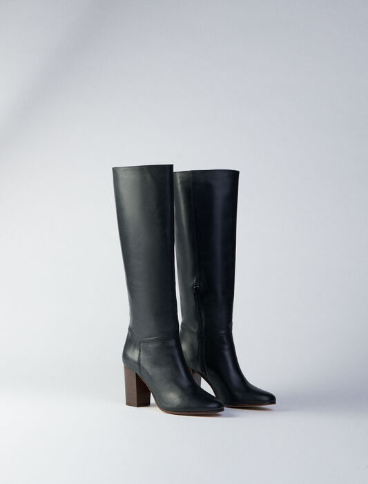 Heeled smooth leather boots : SHOES color Black