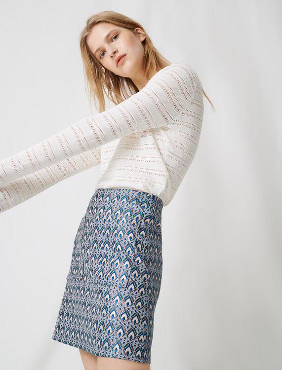Lurex jacquard skirt : Skirts color Light Blue