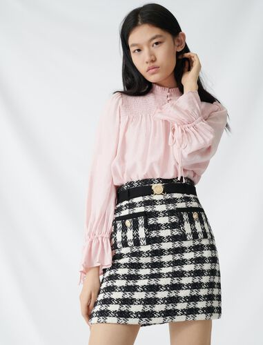Tweed-style skirt with monogrammed belt : Skirts color Black / White