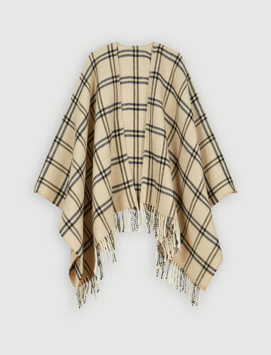 Whool-blend plaid poncho : Scarves and shawls color Beige