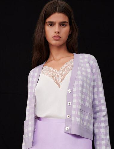 Checked jacquard cardigan : Cardigans color Parma Violet