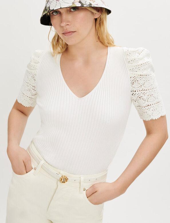 白色镂空泡泡袖T恤 : 针织 顏色 淡褐色/ECRU
