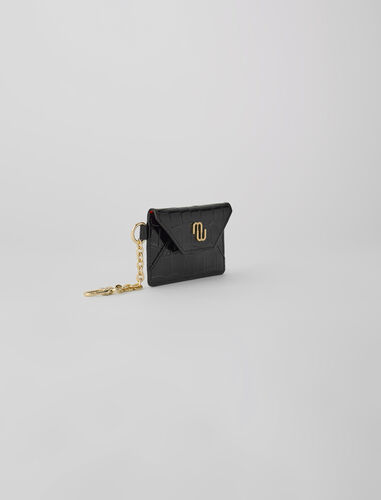 Croc-effect embossed leather card holder : Small leather goods color Black