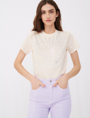 Silkscreen printed rhinestone T-shirt : T-Shirts color Nude