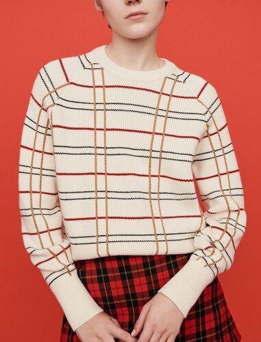 Plaid jacquard sweater : Sweaters color Ecru