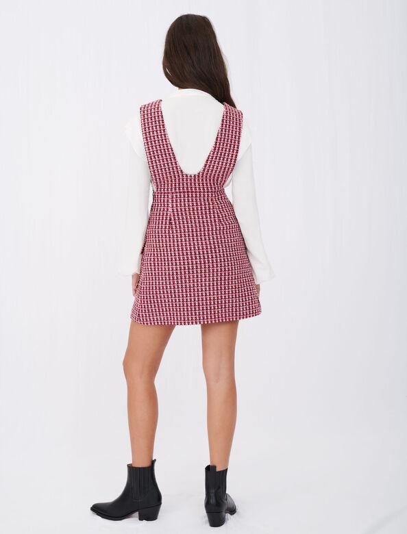 Trompe-l'œil tweed dress : Dresses color Fuchsia