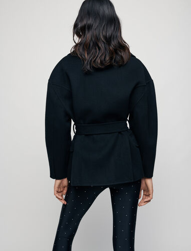 Double face wool blend coat with belt : Coats & Jackets color Black