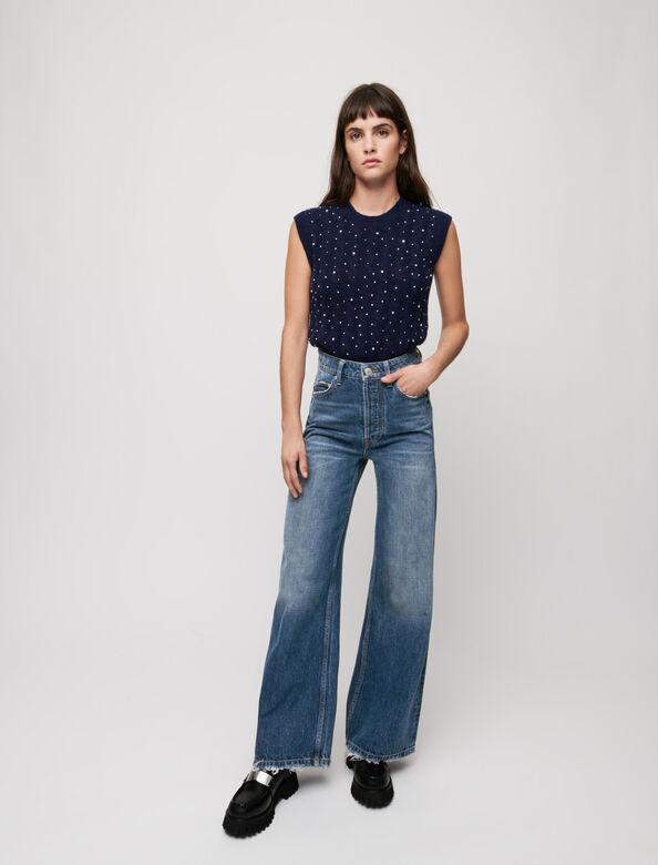 High-waist wide-leg jeans : Trousers & Jeans color Blue