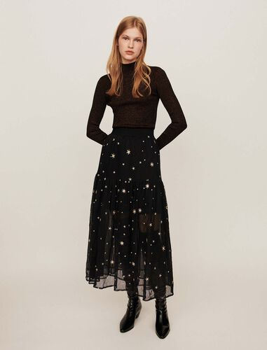 Star-embroidered tulle skirt : Skirts color Black