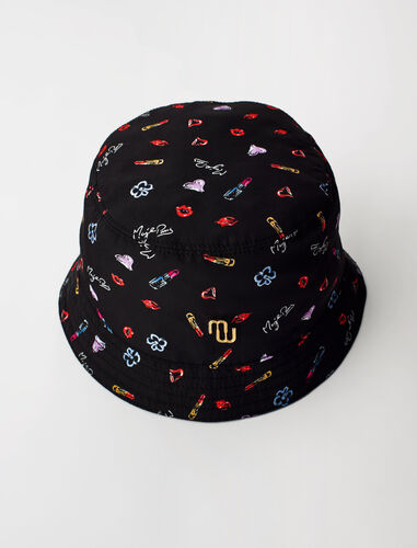 Nylon sun hat heart and kisses print : Other accessories color Black Red