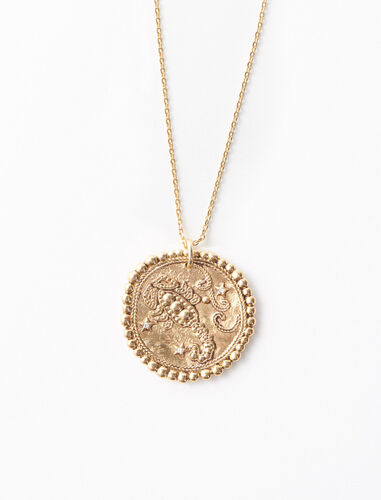 Scorpio zodiac sign necklace : Jewelry color Old Brass