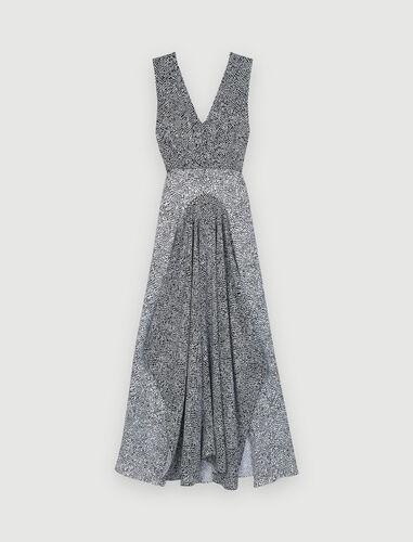 Asymmetric animal print occasion dress : View All color Black / White