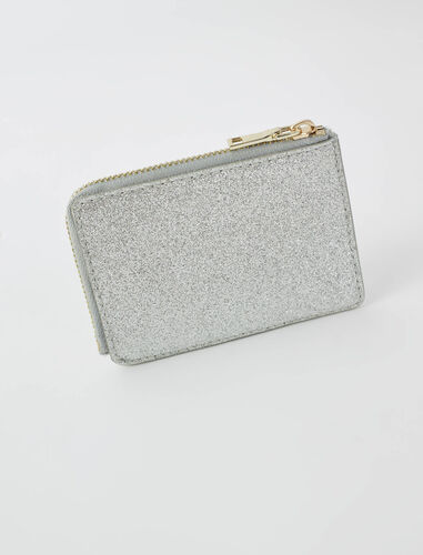 Double M glitter card holder : Small leather goods color Silvery
