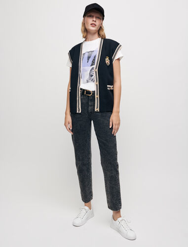High-waisted faded mom jeans : Jeans color Black