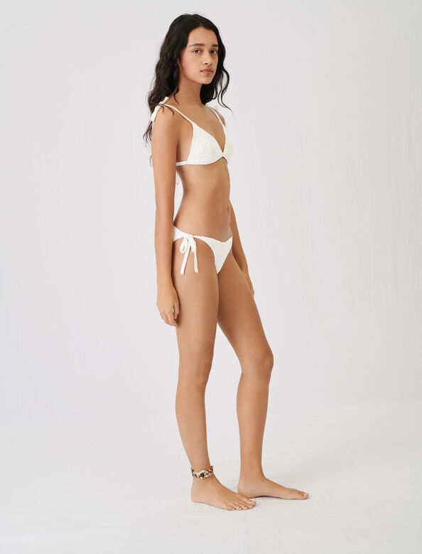 Crochet-style swimsuit : Tops color Ecru