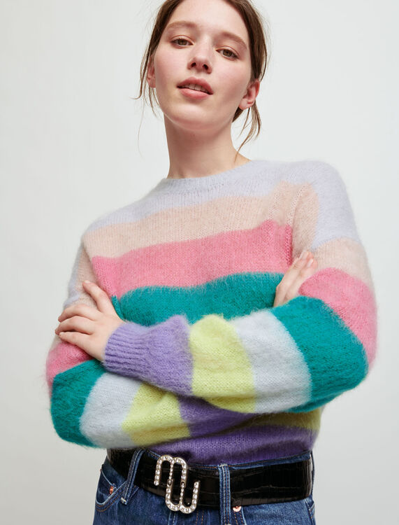 Brushed mohair striped pullover - Sweaters & Cardigans - MAJE
