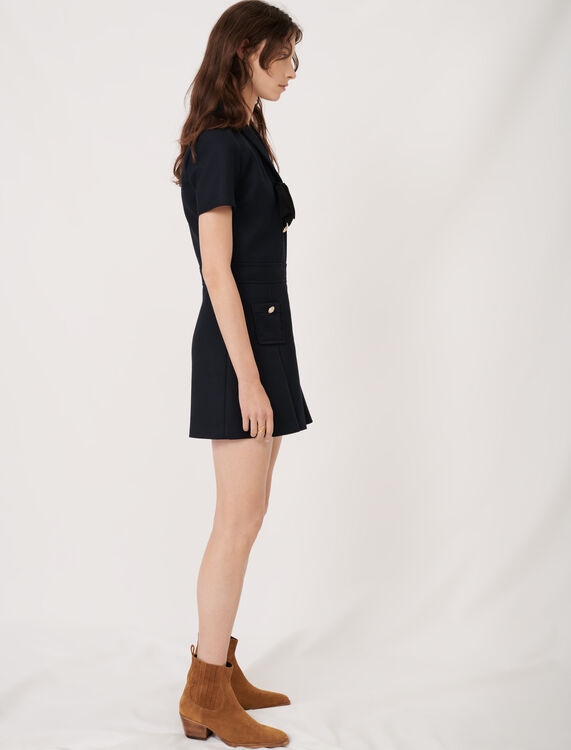 College-style dress with fancy buttons : Dresses color Navy