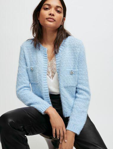 Fancy knit cardigan : Cardigans color Blue Sky