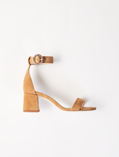 Strappy midi-heeled sandals : Boots & Flat shoes color Camel