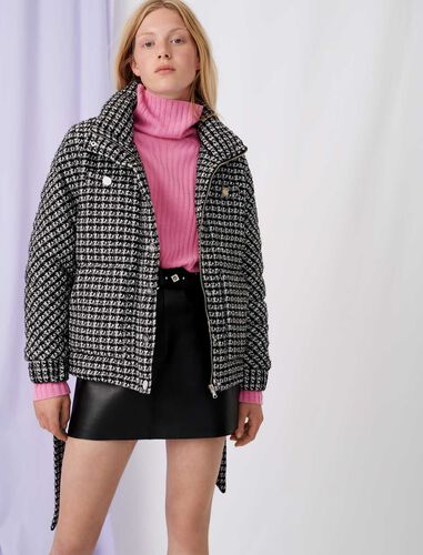 Bicolour tweed-style down jacket : Coats & Jackets color Black / White