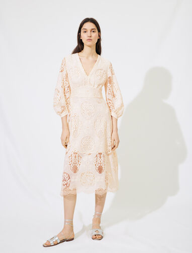 Low-cut guipure dress : Dresses color Nude