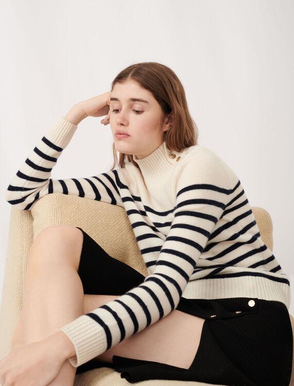 Cashmere sailor-style sweater : Sweaters color Ecru/Navy Blue