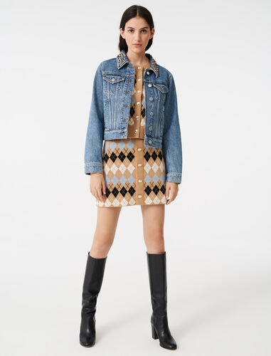 Denim jacket with gem collar : View All color Blue