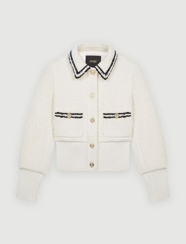 Contrasting tweed-style jacket : Coats & Jackets color Ecru