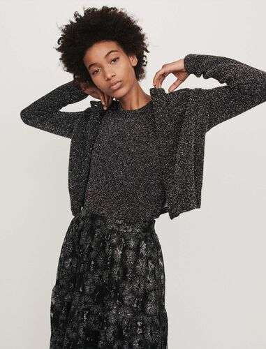 Cropped Lurex cardigan : Cardigans color Silver