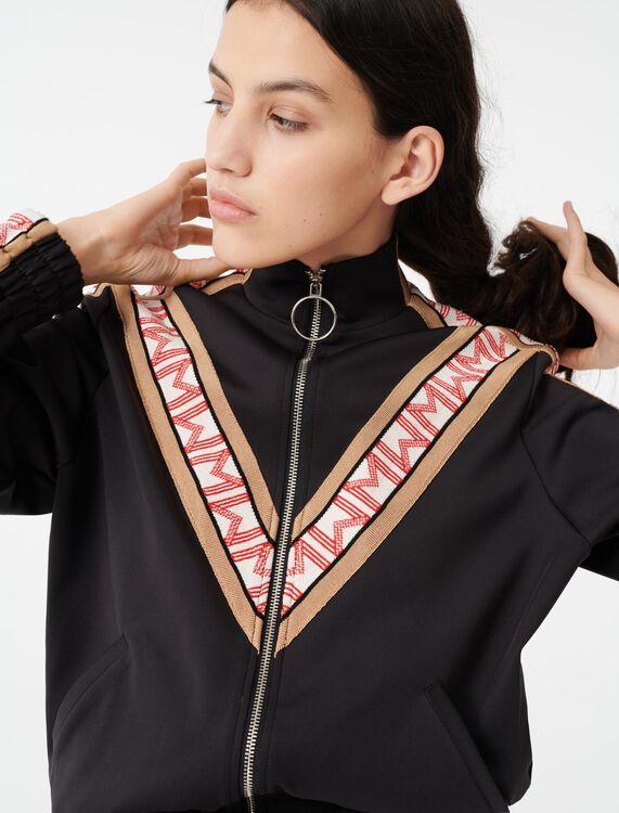 Zip sweatshirt with contrasting bands - Tops - MAJE