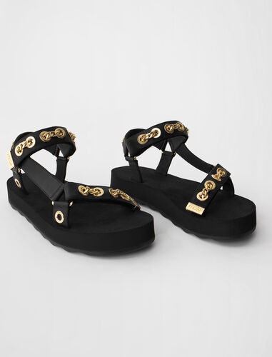Leather sandals with eyelets and chain : Boots & Flat shoes color Black