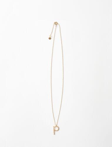 Rhinestone P necklace : Jewelry color Gold