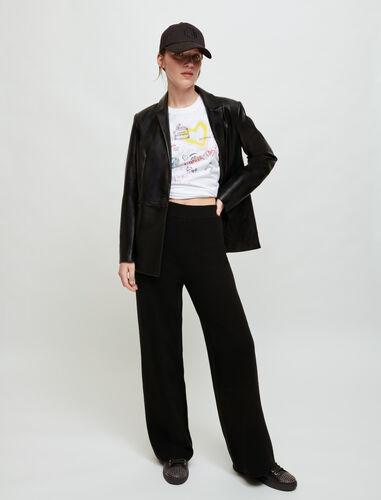 Black wide-leg knit trousers. : Trousers & Jeans color Black