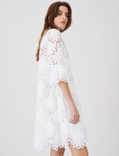 齐花边镂空连衣裙 : 连衣裙 顏色 白色/WHITE
