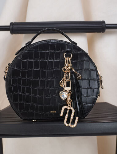 Croc-effect embossed round leather bag : Shoulder bags color Black