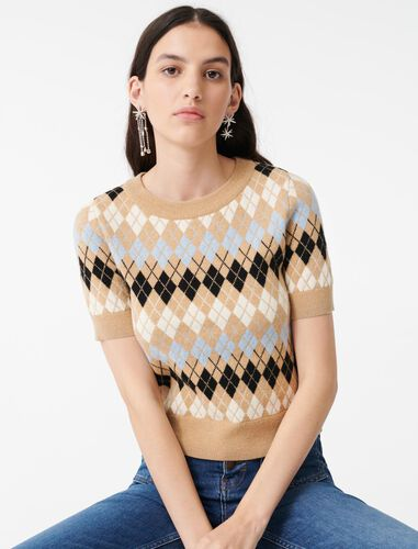Short-sleeved jacquard sweater : Sweaters color Camel