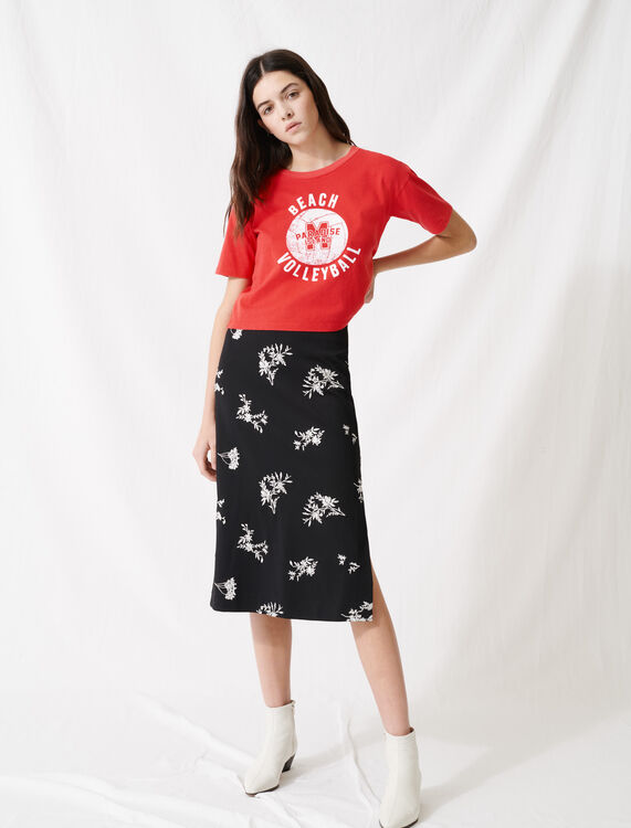 Short red screen-printed T-shirt : T-Shirts color Red
